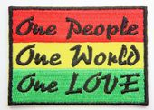 Rasta 'One People  One World One LOVE'  - Embroidered Patch